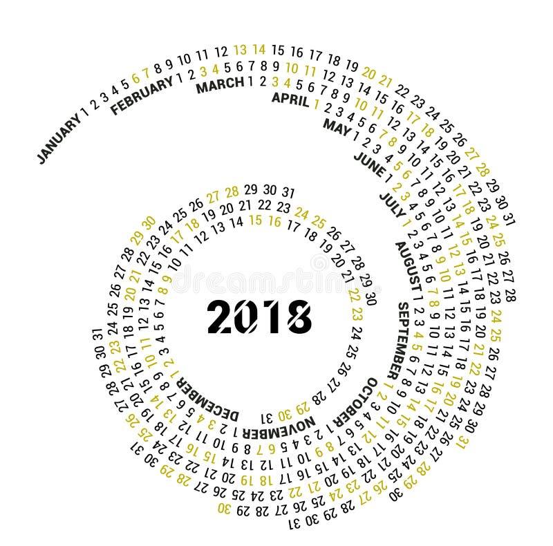 Графический календарь на 2018 Новых Годов расположен в круге вектор Белая предпосылка иллюстрация вектора