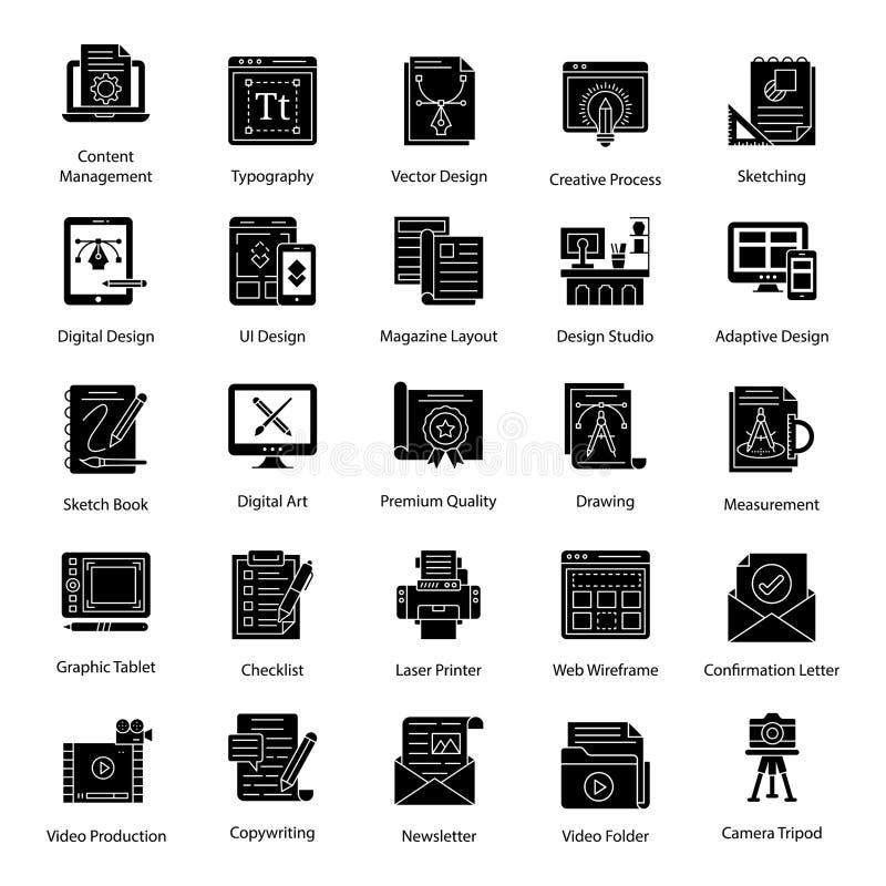 Графический пакет проектировщиков в твердом стиле бесплатная иллюстрация