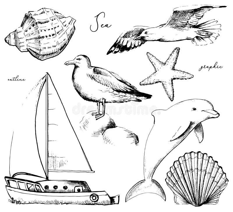 Графический план установленный с 7 морскими объектами иллюстрация вектора
