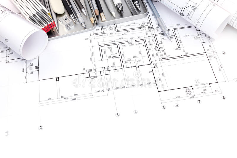 Графический план комнат и светокопии квартиры свертывает с drawi стоковое фото