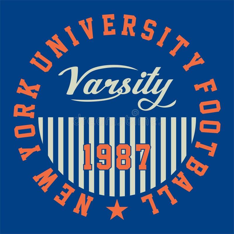 Графический футбол университета Нью-Йорка иллюстрация вектора