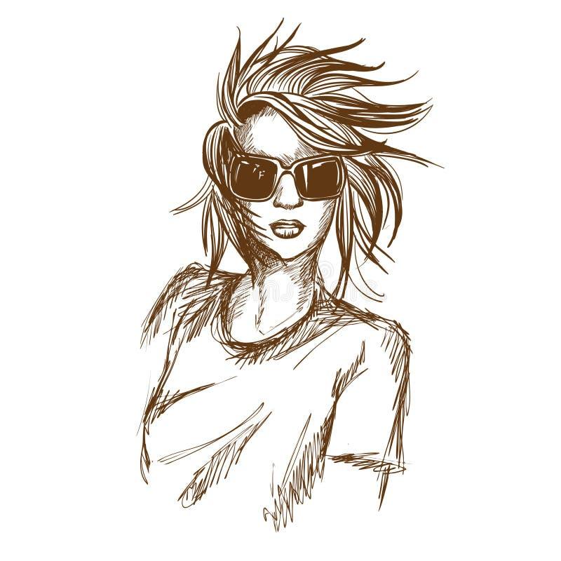 Графический эскиз девушки также вектор иллюстрации притяжки corel стоковые фотографии rf