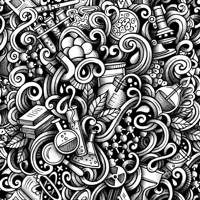 Графической картина художнических doodles науки нарисованная рукой безшовная иллюстрация штока