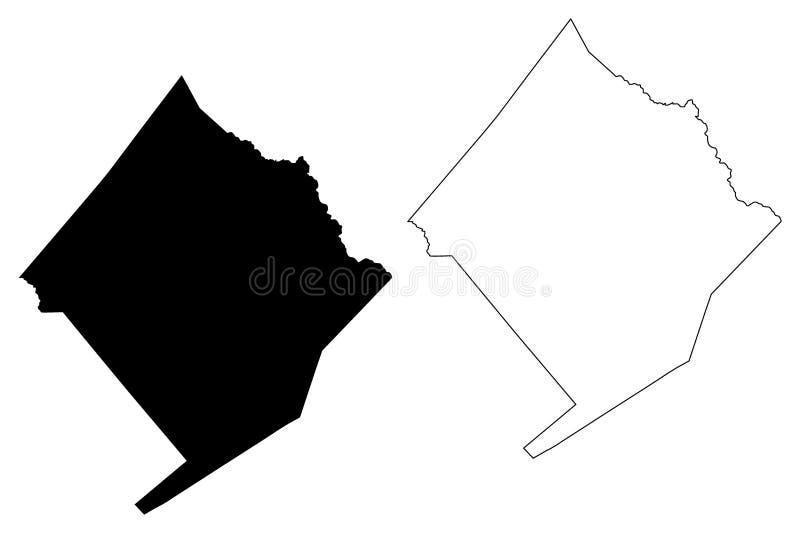 Графства Colorado County, Техаса в Техасе, Соединенных Штатах Америки, США, u S , Иллюстрация вектора карты США, эскиз scribble иллюстрация вектора