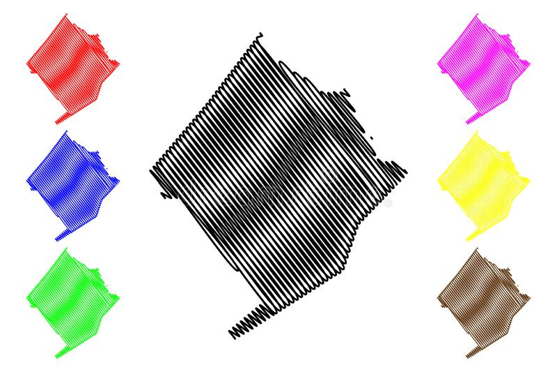 Графства Colorado County, Техаса в Техасе, Соединенных Штатах Америки, США, u S , Иллюстрация вектора карты США, эскиз scribble бесплатная иллюстрация
