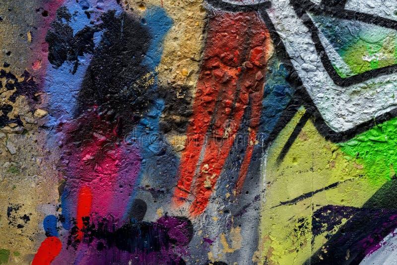 Граффити абстрактного красивого искусства улицы красочные вводят крупный план в моду Деталь стены Смогите быть полезный для предп стоковая фотография rf