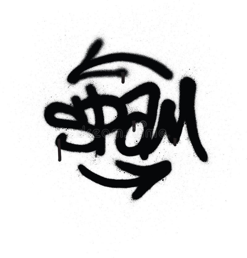 Граффити маркируют спам распыленный с утечкой в черным по белому бесплатная иллюстрация