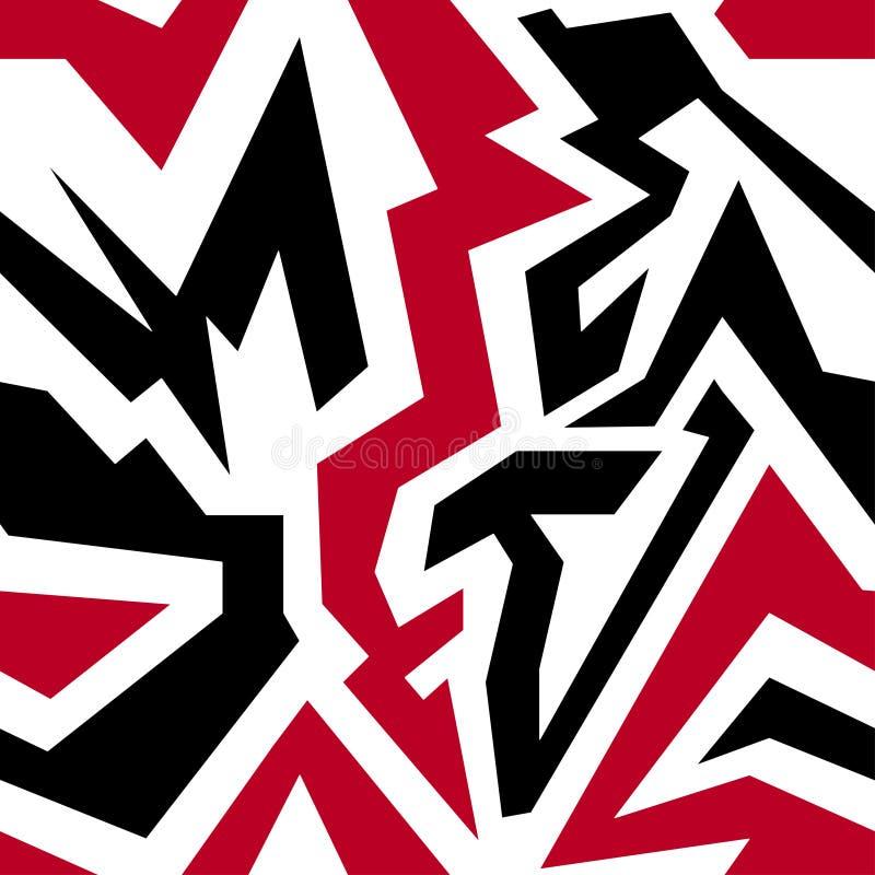 Граффити на белом grunge предпосылки текстурируют геометрическую безшовную картину иллюстрация штока