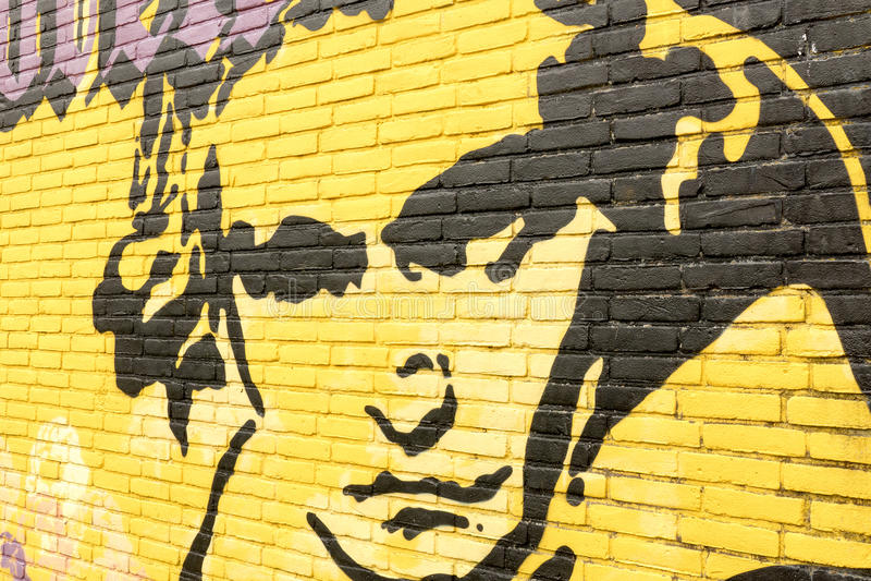 Граффити на стене с портретом Людвиг ван Бетховена стоковые фотографии rf