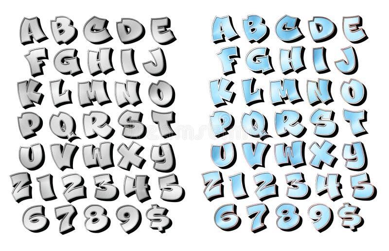 Граффити помечая буквами почищенный щеткой 3d хром металла иллюстрация штока