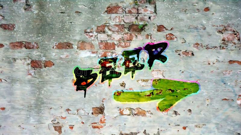 Граффити стены к пиву стоковые изображения rf