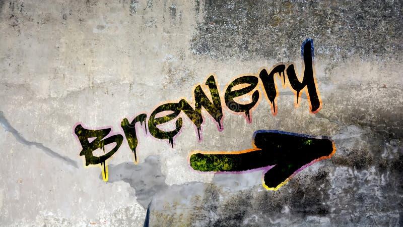 Граффити улицы к винзаводу стоковая фотография
