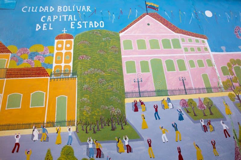 Граффити людей танцев в старом колониальном Ciudad Bolivar, Venez стоковая фотография