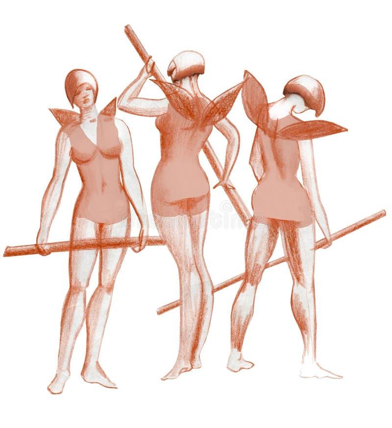 3 грациозности практикуя артистов балета в эскизе фантазии костюмов иллюстрация штока