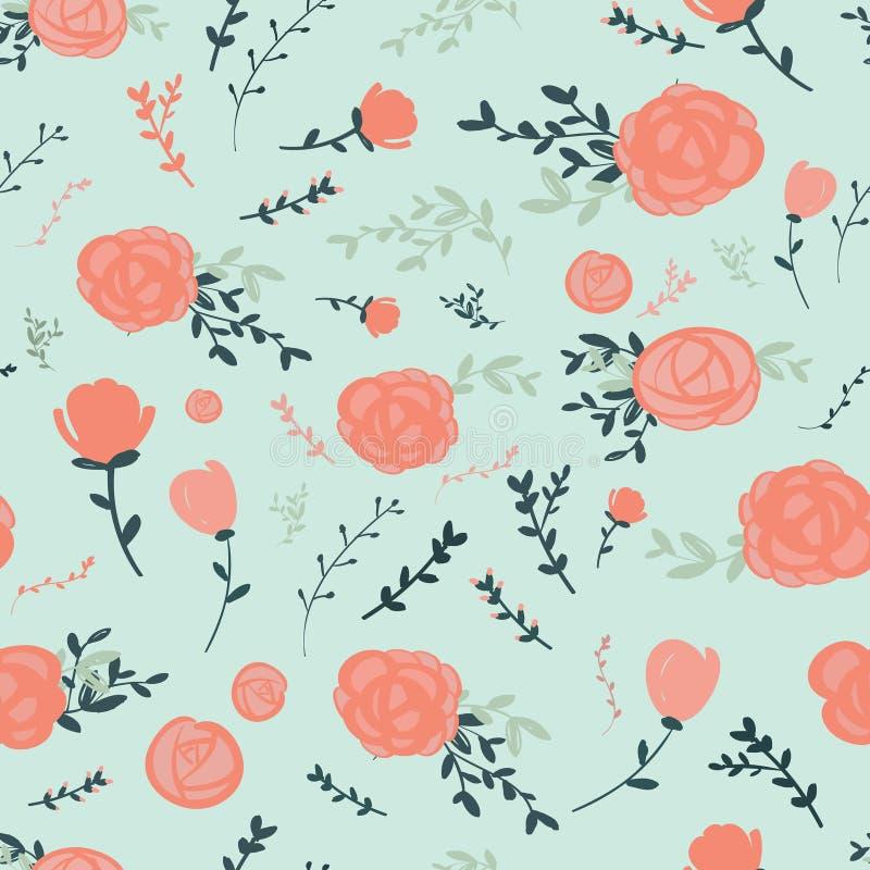Грациозно безшовный цветочный узор иллюстрация штока