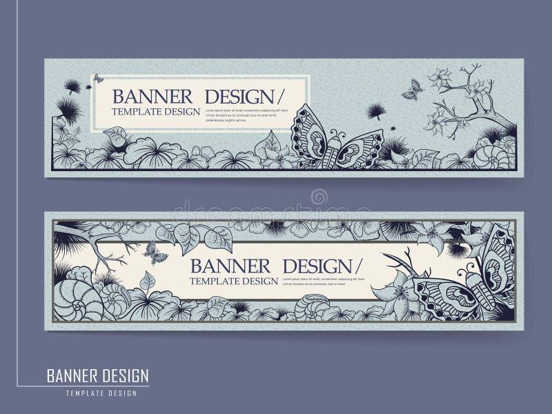 Грациозно дизайн знамени с бабочками иллюстрация штока