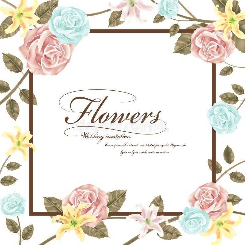 Грациозно флористическое приглашение свадьбы бесплатная иллюстрация