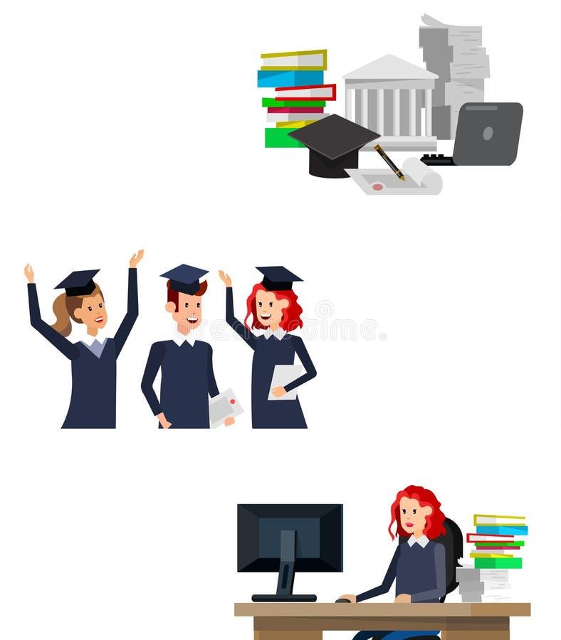 Градация студентов университета иллюстрация вектора