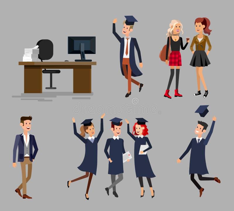 Градация студентов университета бесплатная иллюстрация