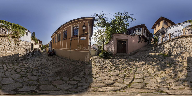360 градусов панорамы старого городка в Пловдиве, Болгарии стоковые фотографии rf