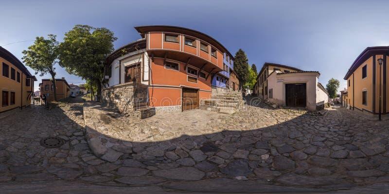 360 градусов панорамы старого городка в Пловдиве, Болгарии стоковое фото