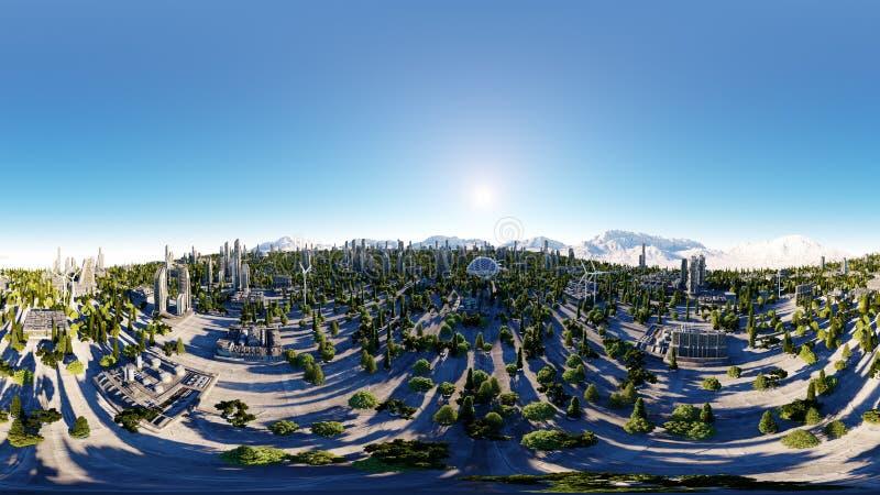 360 градусов Футуристический город, городок Архитектура будущего вид с воздуха перевод 3d панорама сферически иллюстрация штока