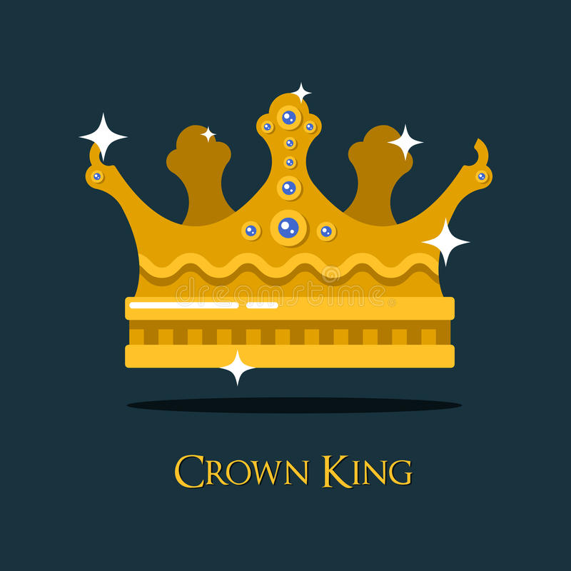 Гребень или король, крона ферзя золотая иллюстрация штока