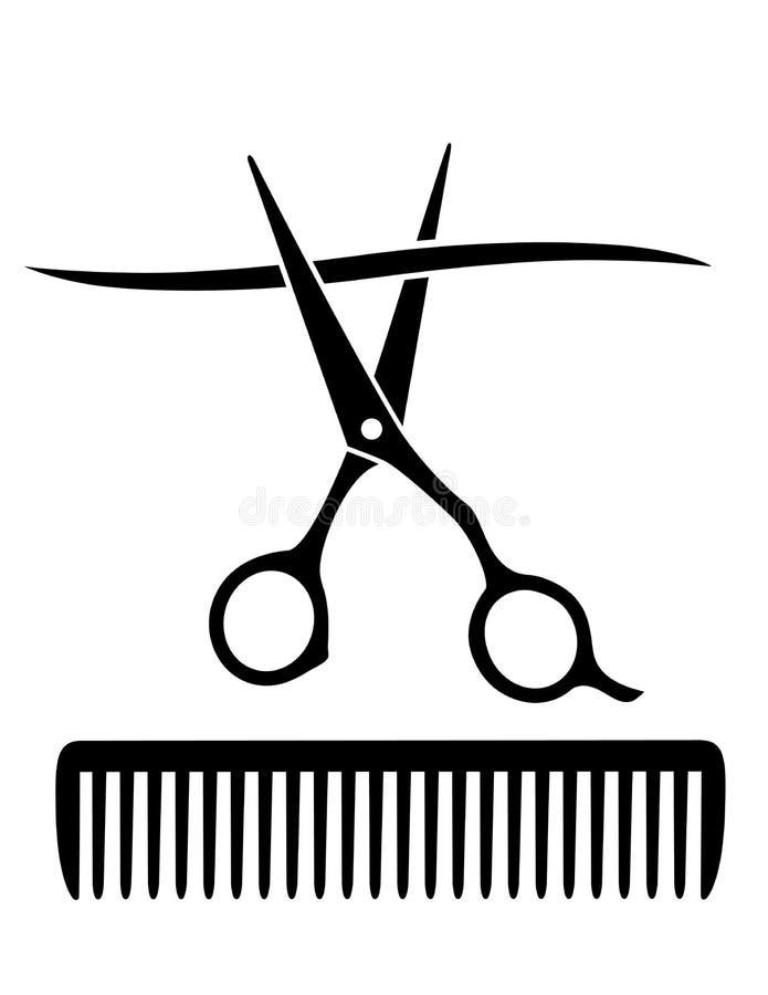 Гребень и ножницы режа стренгу волос иллюстрация вектора
