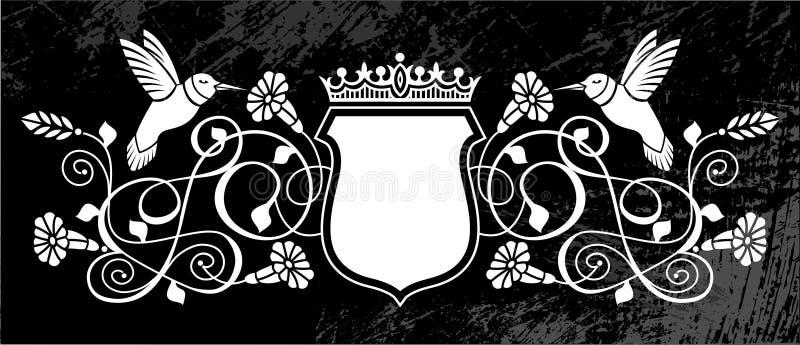 Гребень птиц и цветков королевский иллюстрация вектора