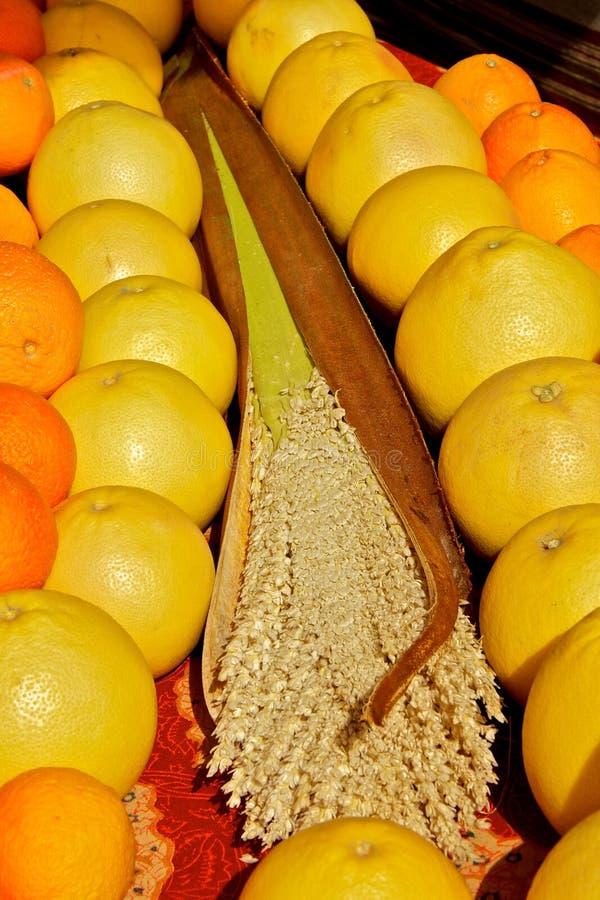 грейпфруты хуторянин выходят померанцы вышед на рынок на рынок стоковые изображения rf