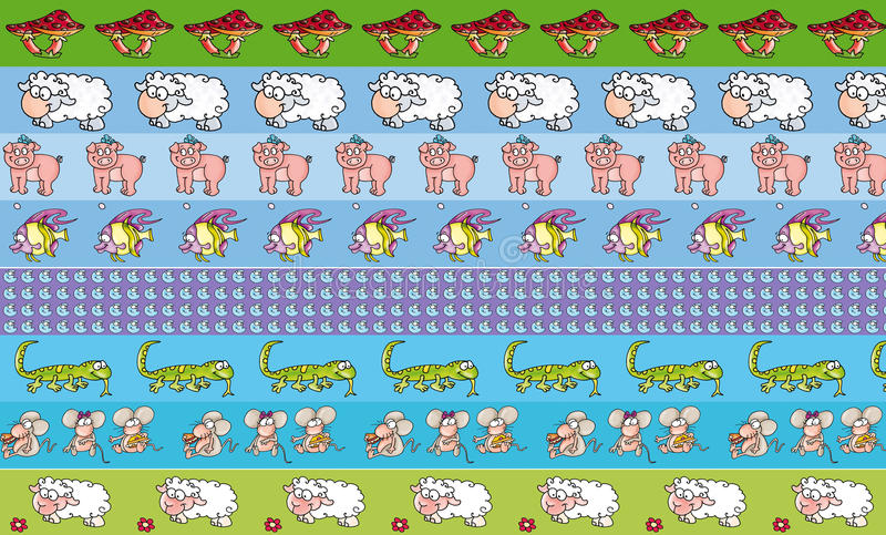 Грек прокладки с животными и повторены, что применяют характеры ` s детей причина в спальнях, printable для бесплатная иллюстрация