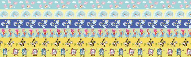 Грек прокладки с животными и повторены, что применяют характеры ` s детей причина в спальнях, printable для иллюстрация вектора