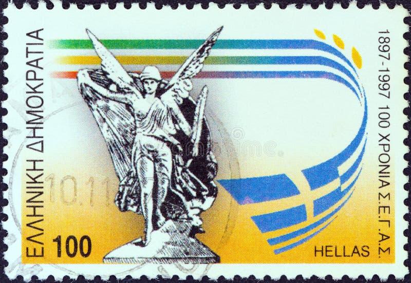 ГРЕЦИЯ - ОКОЛО 1997: Печать напечатанная в Греции показывает статую Nike, около 1997 стоковые изображения