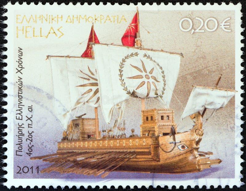 ГРЕЦИЯ - ОКОЛО 2011: Печать напечатанная в Греции показывает эллинистическое Poltrene 4-ое ко второму веку b C , около 2011 стоковая фотография