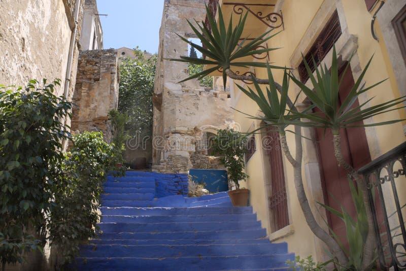 Греция, Symi, крутая лестница стоковое изображение rf