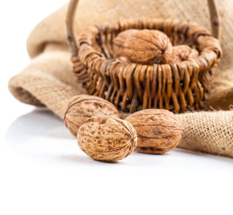 Грецкие орехи в плетеной корзине стоковая фотография rf