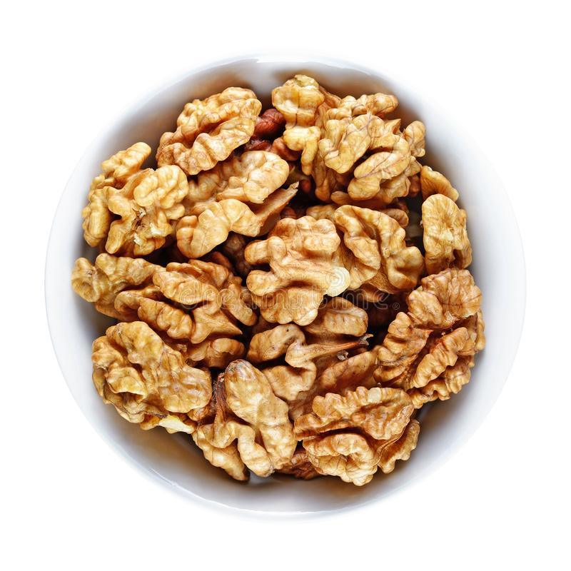 Грецкие орехи в шаре изолированном на белизне стоковое изображение rf