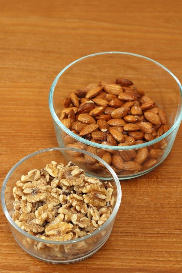 Грецкие орехи и миндалины стоковое изображение rf