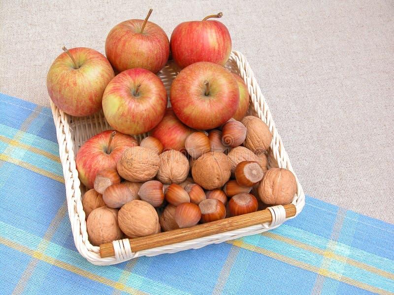 грецкие орехи яблок стоковое фото rf