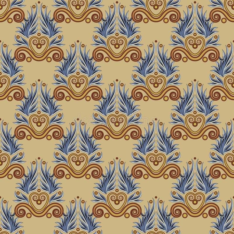 Греческая античная безшовная картина Этнический орнамент в коричневом цвете иллюстрация вектора