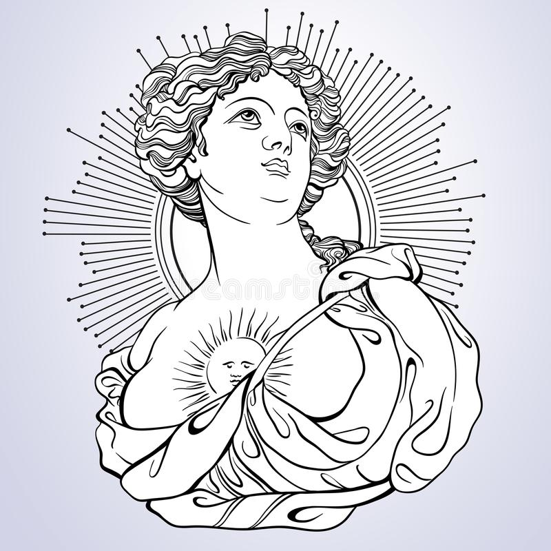 Греческая богина Викторианская камея Большой для книжка-раскраски Изолированная иллюстрация Vetor в линии стиле бесплатная иллюстрация