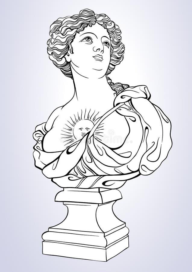 Греческая богина Мраморный бюст довольно греческой женщины Большой для книжка-раскраски Изолированная иллюстрация Vetor в линии с иллюстрация штока