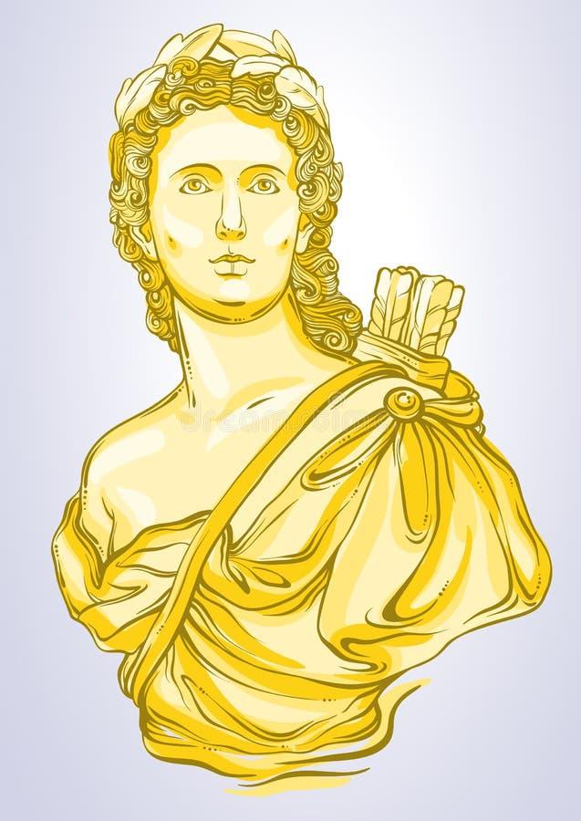 Греческая богина Мраморный бюст красивого греческого человека в цветах золота Изолированная иллюстрация Vetor в линии стиле бесплатная иллюстрация