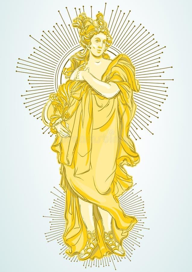 Греческая богиня, мифологическая героиня древней греции Нарисованное вручную красивое изолированное художественное произведение в иллюстрация вектора