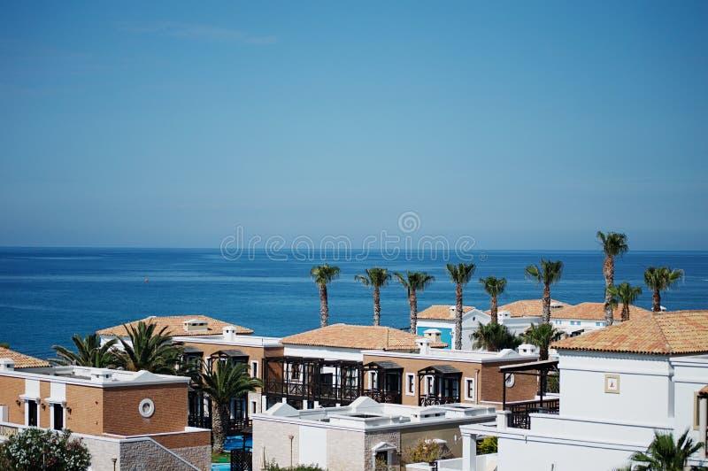 Греческая деревня около моря стоковое изображение rf