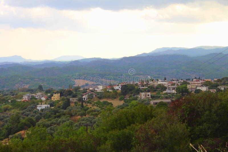 Греческая деревня в утре стоковое фото