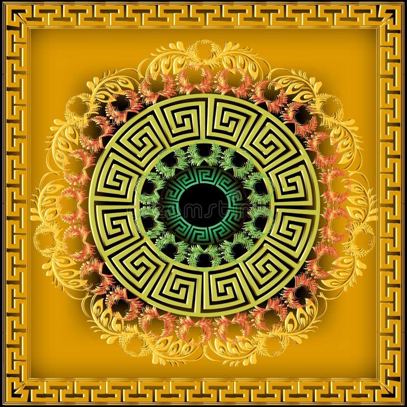 Греческая картина мандалы вектора ornamental 3d Яркое желтое флористическое иллюстрация штока