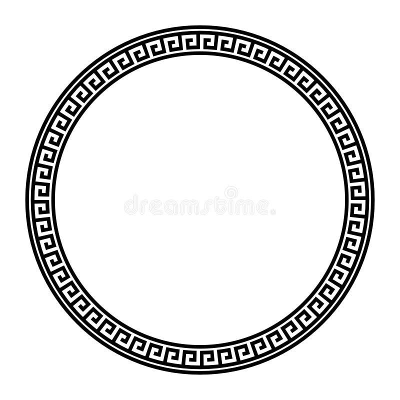 Греческая ключевая круглая рамка Типичные египетские, ассирийские и греческие поводы объезжают границу иллюстрация штока
