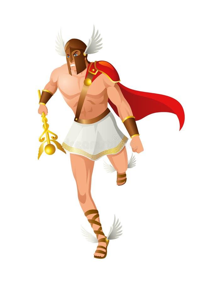 Греческие боги и богиня Hermes иллюстрация штока