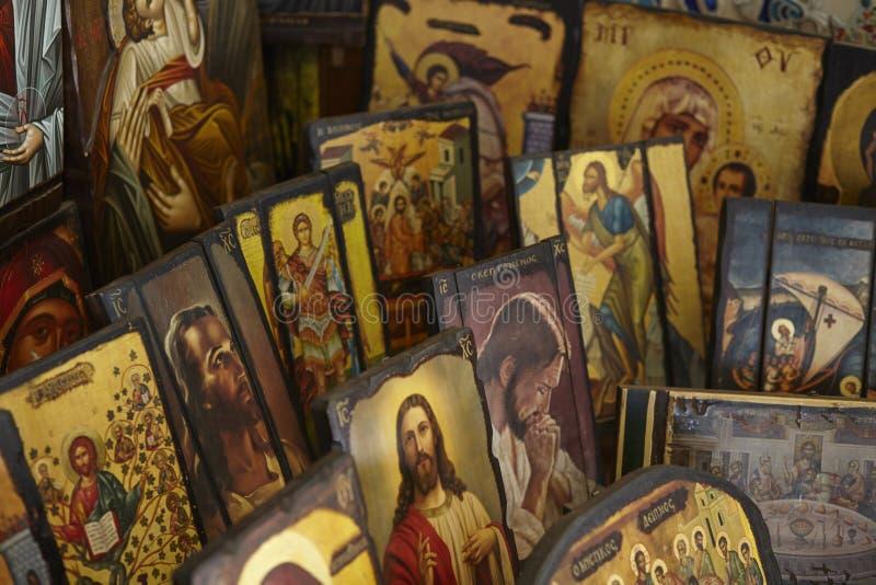 Греческие правоверные значки, выбор византийских изображений стоковые фотографии rf